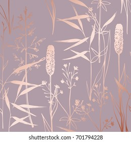 Vector pattern with wildflowers imitating the surface of pink gold. Decorative background for design of cards, cases, packaging, covers and much more