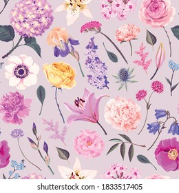 Vector pattern with yellow and pink garden flowers