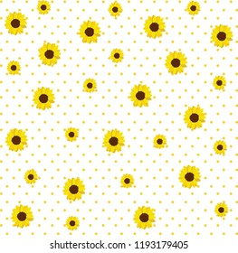 Vector pattern with yellow sunflowers on a yellow with polka dots on white background.