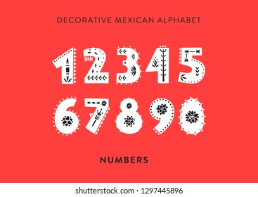 Vector patterned alphabet decorated with folk mexican ornaments.  Set of numbers on a red background.