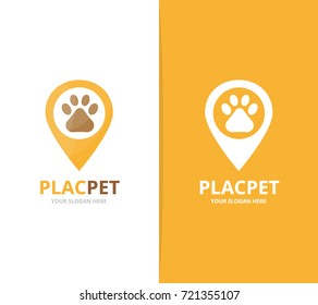 Vector paw and map pointer logo combination. Pet and gps locator symbol or icon. Unique vet and pin logotype design template.