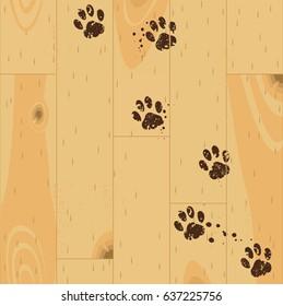 Vector paw tracks on wooden floor.