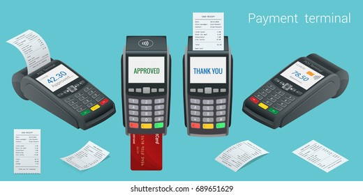 Vector payment machine and credit card. POS terminal confirms the payment by debit credit card, invoce. Vector illustration in flat design. NFC payments concept. Isometric NFC payments concept