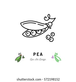 Vector Pea icon Vegetables logo, Peas in a pod. Thin line art design, outline illustration