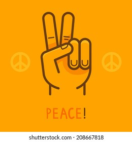 Vector peace sign - hand showing two fingers - modern flat illustration on yellow background - logo design template