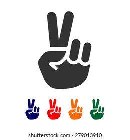 Vector peace sign - hand showing two fingers - logo design template