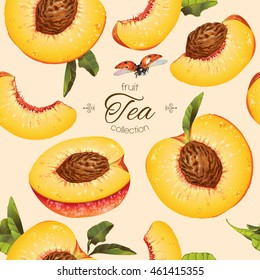 Vector peach seamless pattern. Background design for tea, ice cream, natural cosmetics, candy and bakery with filling, health care products. Best for textile, wrapping paper.