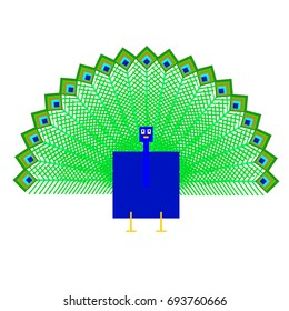 Vector peacock are made of squares and rectangles