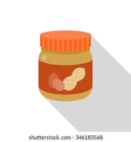 Vector peanut butter bottle icon, flat design