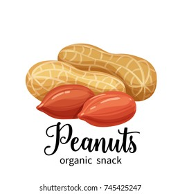 Vector peanuts in cartoon style for template label, packaging snackand emblem farmer market design.