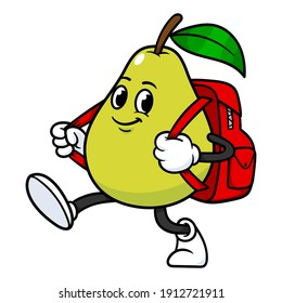 Vector Pear Character With Backpack
