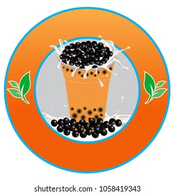 vector of pearl milk tea a with round of logo brand