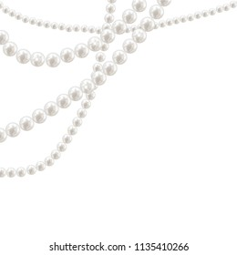Vector pearl necklace on light background