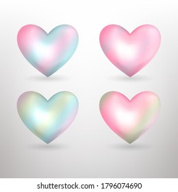 Vector pearl  pastel hearts icons set. Vector 3D illustration.Vector collection of pearl pastel hearts on white background.