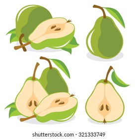 Vector pears. Whole and cut in half green pear fruits, collection of vector illustrations