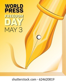 Vector pen and a fragment of a notebook on the World Press Freedom Day on a yellow and white gradient background. May 3, the emblem of World Press Freedom Day