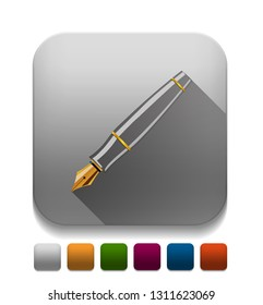Vector Pen Icon With long shadow over app button