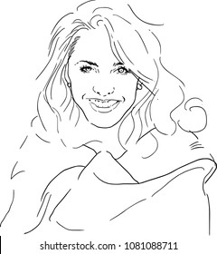vector pencil drawing young girl face.fashion concept