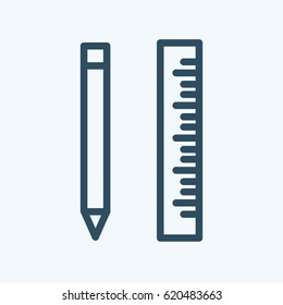 Vector pencil and ruller icon or illustration in linear style