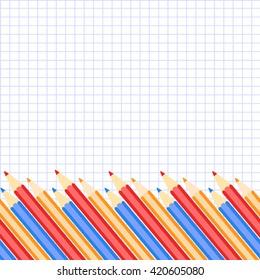 vector pencil, school background