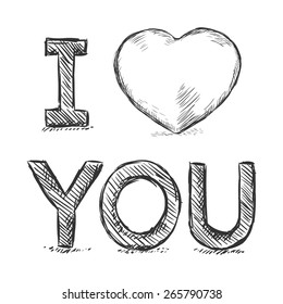 Vector Pencil Sketch Illustration - I Love You