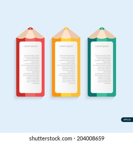Vector pencil template with place for your content in different color.