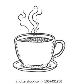 Vector Penciling Sketch Illustration - Cup of Coffee