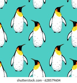 Vector penguin seamless pattern. Hand drawn sketch of wild animal. Animals in the wild thematic drawing
