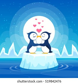 Vector penguins on an ice floe. Couple in love.