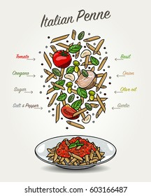 Vector Penne with Tomato Sauce and Ingredients List