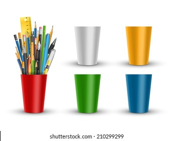 Vector pens and pencils in red plastic glass cup illustration with set of different colors glases