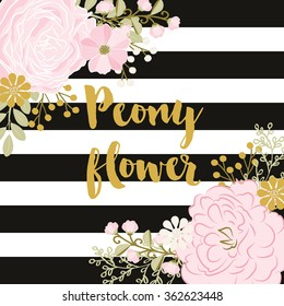 Vector peony / Black and White Stripes / Flower peonies