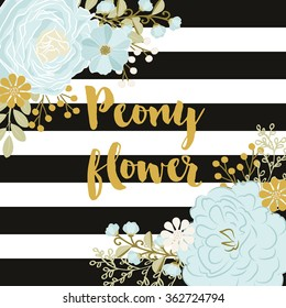 Vector peony / Black and White Stripes / Blue flower