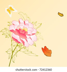 vector peony flower and butterfly