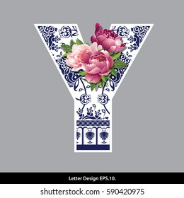 Vector of Peony flower on Oriental Chinese porcelain style in alphabet tape Y shape. Traditional Chinese style.
