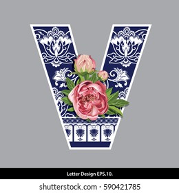 Vector of Peony flower on  Oriental Chinese porcelain style in alphabet tape V shape. Traditional Chinese style.