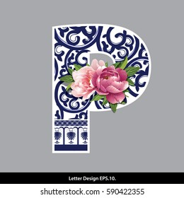 Vector of Peony flower on  Oriental Chinese porcelain style in alphabet tape P shape. Traditional Chinese style.
