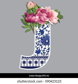 Vector of Peony flower on  Oriental Chinese porcelain style in alphabet tape J shape. Traditional Chinese style.