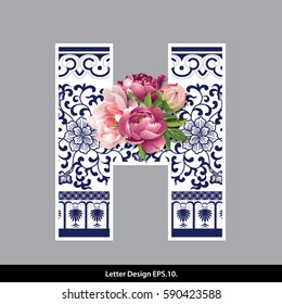 Vector of Peony flower on  Oriental Chinese porcelain style in alphabet tape H shape. Traditional Chinese style.