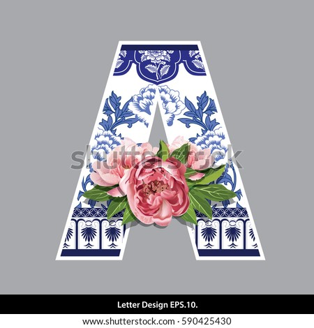 f5cc8c6208 Vector of Peony Flower on Oriental Chinese Porcelain Style in Alphabet tape  A Shape. Traditional Chinese style. - Vector