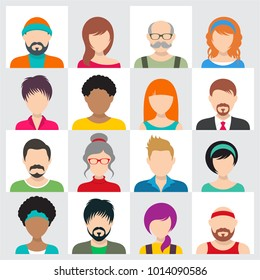 Vector people avatar icons male and female faces