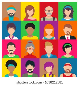 Vector people avatar icons male and female