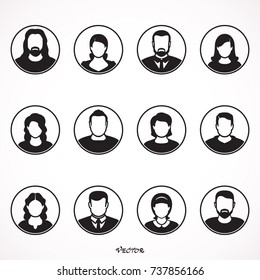 vector people avatar, man and woman in circle. People with a beautiful hairstyle,
