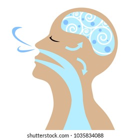 Vector of people to breathe for good health.