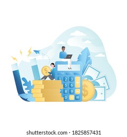 Vector people count finances,cash,bills,coins,income, expenses on calculator.Woman sits on gold coins,man with laptop.Magnet attracts online capital.Guy and girl make lot of money on Internet.