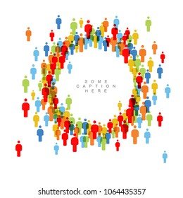 Vector people crowd circle frame template made from figure icons