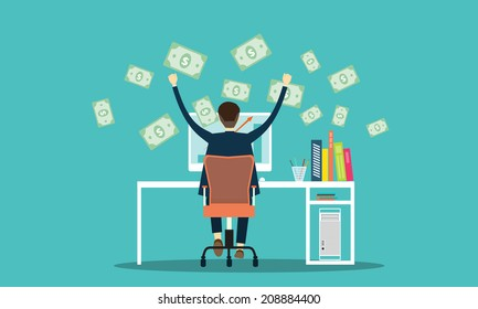 vector people earning business on line background