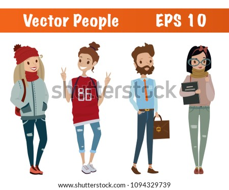 vector people education set students teachers stock vector royalty