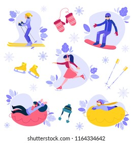 Vector people enjoying winter sports with abstract florals, mittens knitted hat, ice-skates and skiing stick set. Man snowboarding, women skiing and ice-skating, girl and boy kid snowtubing outdoors