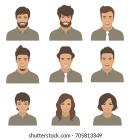 vector people faces. woman, man flat cartoon avatars
